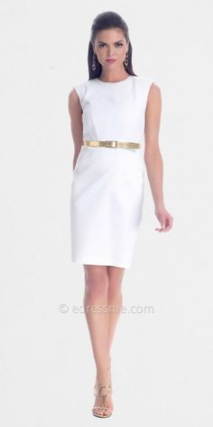 White Sleeveless Sheath Day Dresses from NUE by Shani......Price - $260.00 - I3ifBB0B