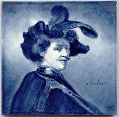 Een van de vele Rembrandttegels tere ere van Rembrandt in 1906 Rembrandt, Painting, Art, Shop Signs, Painting Art, Paintings, Painted Canvas, Drawings