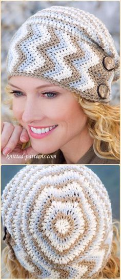 Repeat Crochet Me: Crochet Buttoned Chevron Beanie Hat Free Pattern Crochet Beanie Hat Free Pattern, Crochet Cap, Crochet Buttons, Crochet Baby Hats, Crochet Scarves, Diy Crochet, Knitted Hats, Crochet Patterns, Hat Patterns