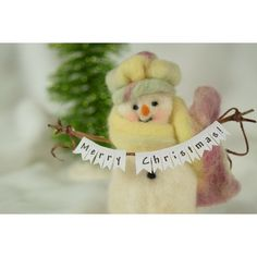 Needle Felt Wool Snowlady And Her Merry Christmas Banner