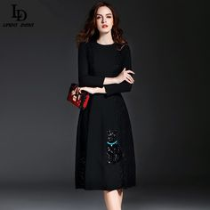 High Quality Lace Patchwork Women Sexy Black Dress Runway Designer Long Sleeve Cat Sequined Slim Dress