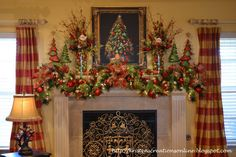 Furniture and Accessories. Elegant Joyful in Bright Sparkling Natural Green and Red Christmas Mantel Decoration Ideas. Beautiful, Lovely Hol...