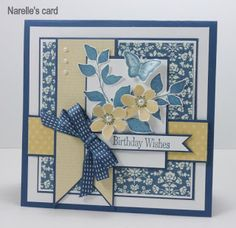 handmade birthday card ... blue, yellow and white ... pretty colors ... pretty card layout ...like the use of patterned paper, ribbon, cardstock and inks all of the same color to unify all of the pretty parts ... Stampin' Up!