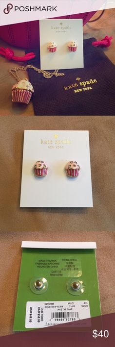 BNWT Take The Cake Kate Spade Stud Earrings Brand new, never worn Kate Spade Take The Cake studs. Retails for $48+tax.  Cupcake crossbody & necklace available in separate listings. kate spade Jewelry Earrings
