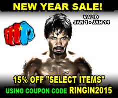 Shop for authentic and exclusive gear from the official Manny Pacquiao website and store. Up to 15% OFF select products by using coupon code BRINGIN2015 during Checkout. Good until January 14th, 2015.