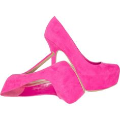 Fuchsia Laurence sky high pumps JustFab ❤ liked on Polyvore