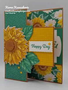 Girl Birthday Cards, Bday Cards, Fun Fold Cards, Folded Cards, Sunflower Cards, Hand Stamped Cards, Small Cards, Stamping Up Cards, Cardmaking