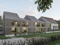 German studio Von M has completed a slatted timber building with a fragmented roofline to house a kindergarten in the German city of Ludwigsburg Photograph by Denis Mueller Timber Buildings, Small Buildings, Roof Architecture, Contemporary Architecture, Roof Design, House Design, Classic Building, Pergola Designs, Pergola Kits