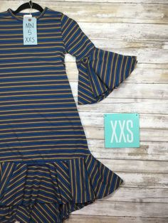 e164a24849f Blue and Golden Yellow Striped Maurine in an XXS. The LuLaRoe Maurine dress!  Highlights