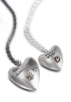 pressed heart pendants