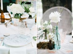 clean, white springtime look. Wedding Planer, Wedding Venues, Wedding Ideas, Wedding Decorations, Table Decorations, Vintage Plates, Bottle Vase, Event Styling, Super Simple