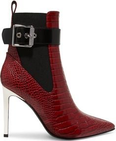 "Rag & Bone ""Wren"" ankle boots in red croc-effect leather"