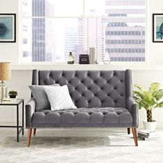 Invigorate your living room decor with the Peruse Arm Loveseat. Luxuriously tufted buttons adorn the soft, stain-resistant velvet polyester upholstery for an exquisite look of exceptional appeal. Peruse comes densely padded in foam with solid wood le Mid Century Living Room, Online Furniture Stores, Gray Sofa, Living Room Decor, Love Seat, Just For You, Velvet, Solid Wood, Home Decor