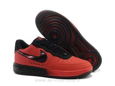 buy online f826c 80a70 Bedst Nike Air Force 1 Rød Sort Herre Skobutik  Billige Nike Air Force 1  Skobutik