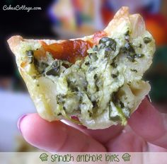 Spinach artichoke bites - Note :  there is one tiny tiny problem , they could disappear in a bite  !!