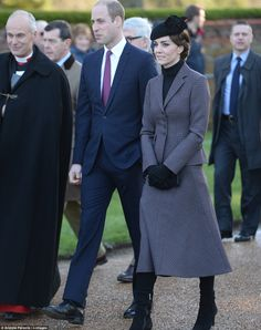 The Duchess of Cambridge wrapped up warm as she arrived at the Sunday service at the churc...