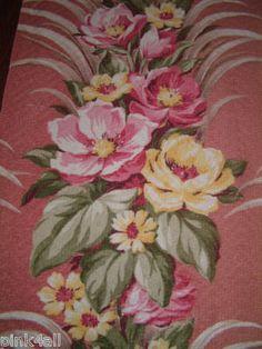 VIntage Pink Floral Barkcloth