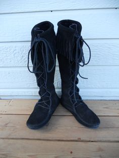 Vintage 1970's Minnetonka Moccasin Black Knee High by funkhouse, $39.00