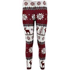 Saskia Reindeer Snowflake Christmas Legging (195 INR) ❤ liked on Polyvore featuring pants, leggings, bottoms, jeans, red christmas leggings, red trousers, snowflake leggings, christmas leggings and snowflake print leggings