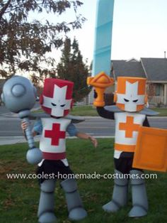 Coolest Castle Crashers Couple Costume: The idea for this Castle Crashers Couple Costume came from my son, Ben.  He showed the idea to my husband and asked if he could make these 2 costumes for
