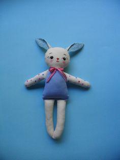 KAWAII BUNNY plushie - Handmade vintage-inspired plush toy rag doll christmas gift baby toy ZAKKA. $28.00, via Etsy.