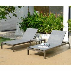 Solana Patio Lounger Set Includes 2 loungers and 1 side table Rust-proof aluminum coated with Duracoat® and table top made of Duraboard® Cottage Furniture, Photo Center, Exterior Doors, Gas Station, Outdoor Furniture, Outdoor Decor, Sun Lounger, New Homes, Patio