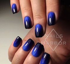 """If you're unfamiliar with nail trends and you hear the words """"coffin nails,"""" what comes to mind? It's not nails with coffins drawn on them. It's long nails with a square tip, and the look has. Navy Nail Art, Navy Nails, Black Manicure, Acrylic Nails, Gel Nails, Nail Polish, Blue Shellac Nails, Blue Ombre Nails, Black And Blue Nails"""