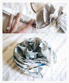 Newspaper flower tutorial-I say great for a #vintage #DIY #wedding