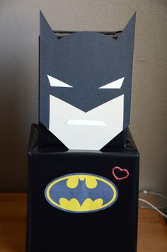 DIY Batman Valentine Card Box for Boys! See more Valentine card box ideas on www.prettymyparty.com.