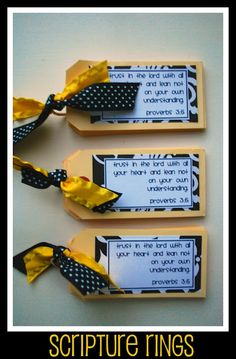 """MOPS CA Idea. scripture rings, small booklets tied together on a """"ring holder"""". Scripture Cards, Scripture Study, Retreat Gifts, Women's Retreat, Retreat Ideas, Christian Crafts, Christian Art, Visiting Teaching, Bible Crafts"""