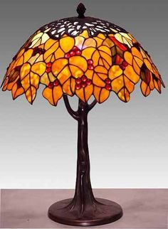 Maple Leaf Tiffany Stained Glass Table Lamp