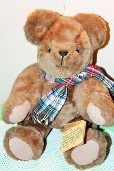 Teddy Bear Original Pattern handcrafted Plaid Scarf and Glasses Moveable Joints…