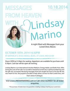 October 18, 2014-St Louis, MO  Messages from Heaven Event www.LindsayMarino.com