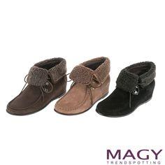 $2980-MAGY 柔軟暖呼呼 中性甜美反領羊皮內增高短靴-黑色 - Yahoo!奇摩購物中心