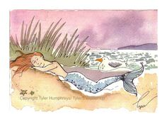 Mermaid Greeting Card- Mermaid Illustration Print- 'Sleeping Beauty Mermaid'. $3.50, via Etsy.