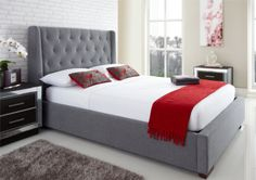 Richmond Upholstered Winged Ottoman Storage Bed  in grey  £479.00