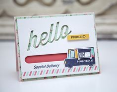 Hello Friend Card by Ashley Cannon Newell for Papertrey Ink (February 2014)