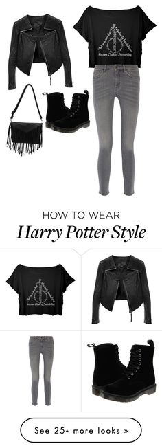 """Night out with Harry Potter"" by sydneyscout11 on Polyvore featuring Linea Pelle, MiH Jeans and Dr. Martens"