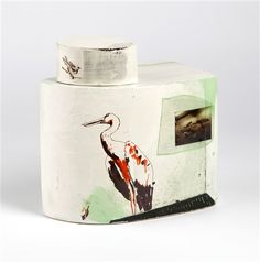 Fiona Thompson, Lidded jars from 'The Contained Animal' series, 2012 - 2013 Jar Lids, Jars, Various Artists, Feathers, Decorative Boxes, Pottery, Inspirational, Ceramics, Contemporary