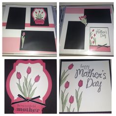 """Stampin' Up!, My Mother stamp set, Mother's Day,  Backyard Basics stamp set, Backyard Basics Framelits Dies, Deco Labels Collection Framelits Dies, Decorative Label Punch, 2013-2015 In Color Designer Series Paper Stack, 2013-2015 In Color Strawberry Slush 8-1/2"""" X 11"""" Cardstock, scrapbook layout, 2 page layout, 12x12, My Mother's Card & Scrapbook page, Tammy Carhart"""