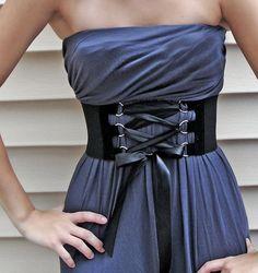 Venni Caprice Solid Black Corset Wide Belt by VenniCaprice on Etsy, $30.00