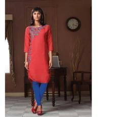 Look classy and stylish in this Red Kurti. Made from Poly Linen fabric, this designer kurti promises a soft feel and is styled with an eye-catching contrast embroidery and pattern.