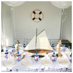6 years and I still think I'm dreaming.  Reid is simply the girl version of Harper. Not sure how I won the lotto twice, but I have a feeling it's my 😇😇 above.  Our #tbbcmodel was the inspiration for a little sailor themed celebration.  We are going on 3 days without power in our neighborhood but thanks to our generator we were smooth sailing ⛵️