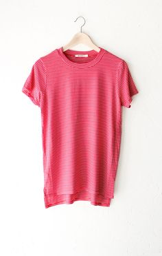 Striped Oversized Shirt - Red from NYCT