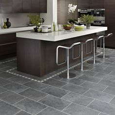 Bathroom:Delightful Dark Grey Kitchen Floor Tiles Outofhome Slate Floors Modern Design In Gray White Cabinets With Wood Ideas Hardwood Pictures Mats Tile Laminate Handsome Kitchen Silver Grey Quartzite Natural Floor Tiles Modern Mats Eeddadcbacfcb Grey Kitchen Floor, Best Flooring For Kitchen, Dark Grey Kitchen, Grey Floor Tiles, Gray Floor, Slate Kitchen, Dark Kitchen Floors, Charcoal Kitchen, Kitchen Island