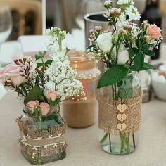 Ideas Bridal Shower Decorations Elegant Fall For 2019 Bridal Shower Centerpieces, Mason Jar Centerpieces, Wedding Table Decorations, Vases, Jar Crafts, Bottle Crafts, Deco Floral, Rustic Wedding, Luxury Wedding