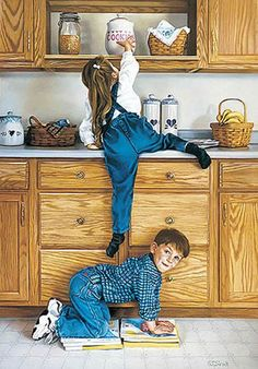 """Partners In Crime"" by Tom Sierak (1950, American)....this is how I would get something....but I never had the help from my brother....he it was more fun for him to go tell my what I was doing so I would be get caught in the act!!"