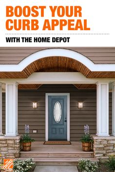 A beautiful, quality front door boosts your home's appearance and curb appeal …A beautiful, quality front door House Paint Exterior, Exterior Paint Colors, Exterior House Colors, Paint Colors For Home, Front Porch Design, Porch Columns, Painted Front Doors, Front Door Colors, House Doors