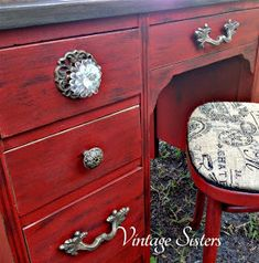 Valspar Signature Posh Red with Paint Minerals - Martha Stewart Black Coffee Glaze - Fabulous Desk Makeover By Vintage Sisters - Featured On Furniture Flippin' - www.FurnitureFlippin.com