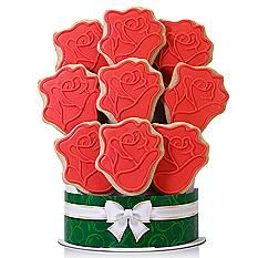 Valentines day for her red roses Red Roses 9 Piece Cookie Bouquet Valentines Day Gifts For Couples, Him, Her, Wife, Husband Summer Cookies, Baby Cookies, Heart Cookies, Easter Cookies, Christmas Cookies, Chocolate Covered Fruit, Chocolate Dipped Strawberries, Cookie Bouquet, Gourmet